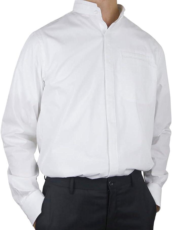 Sinologie - Camisa Doble con Cuello Mao de poleina de algodón, Color Blanco: Amazon.es: Ropa y accesorios
