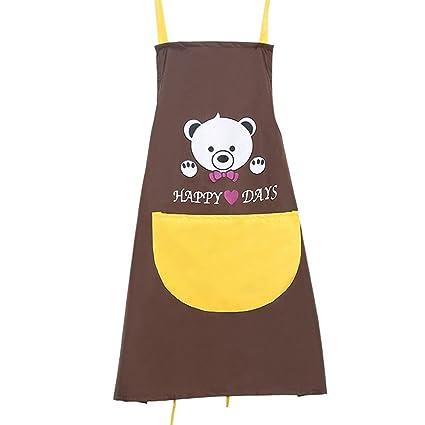 Delantal de oso de dibujos animados, resistente al agua, para cocina, con bolsillo