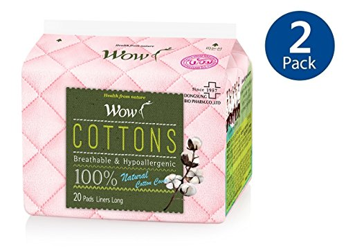 WOW 100% Cotton Panty Liners For women, Daily Unscented Long Size Pantiliners Natural Breathable, Hypoallergenic 6.9