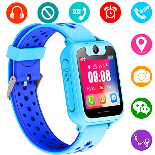 Kids Smart Watch Phone - Kids GPS Tracker Smartwatch for Girls Boys with GPS Location SOS Alarm Clock Digital Watch Camera Flashlight Games for Children Compatible with iPhone/Android (Blue) by PalmTalkHome
