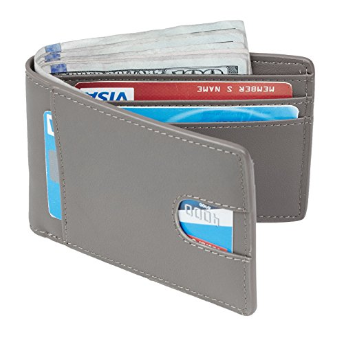 Casmonal Mens Leather Wallet Slim Front Pocket Wallet Billfold RFID Blocking (Gray)
