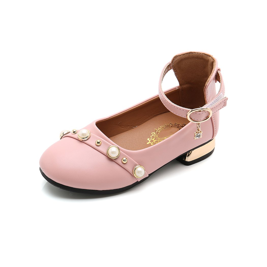 HANMAX Girls Pearl Girls Dress Shoes Low Heels Leather Shoes Kids Sandals