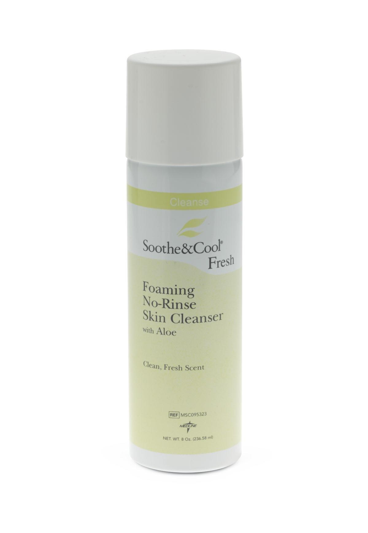 Medline MSC095323 Soothe & Cool Foaming No-Rinse Skin Cleanser, 8oz. (Case of 24)