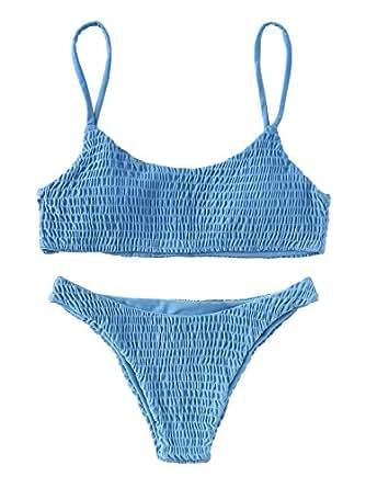 SOLYHUX Women's Two Piece Shirred Bikini Set Blue M