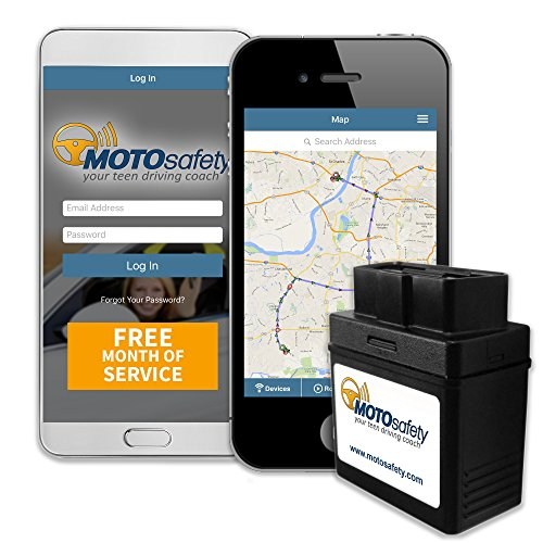 MOTOsafety MPAAS1P1 OBD GPS Vehicle Tracker Device with Phone App, Month of Service Included