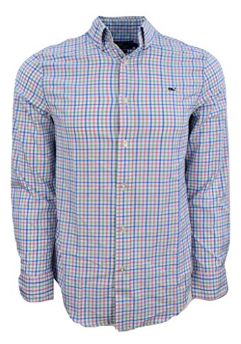 Vineyard Vines Men's Long Sleeve Button Down Whale Shirt Oxford (Orchid Check Performance/Hammock Green, Medium)