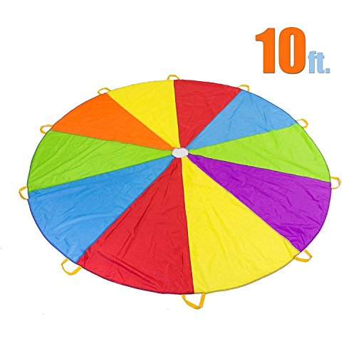 10 Foot Play Parachute with 10 Handles - Multicolored Parachute for ()