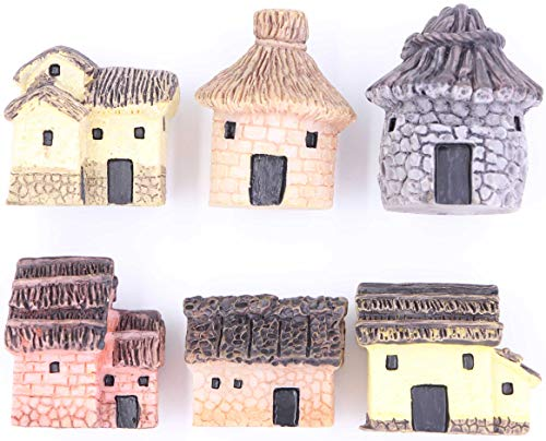 LeBeila Miniature Fairy Garden Stone Houses Mini Cottage House Miniatures Decor Accessories, 6 Fairies Gardening Decoration Kit for Outdoor, Patio, Micro Landscape, Yard Bonsai Decals (6PCS, Multi) (House Mini Figurine)