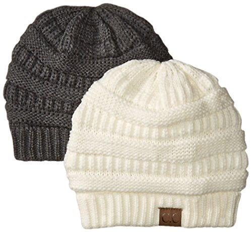 Trendy Warm Chunky Soft Stretch Cable Knit Slouchy Beanie Skully HAT20A, 2pack: Charcoal/Ivory