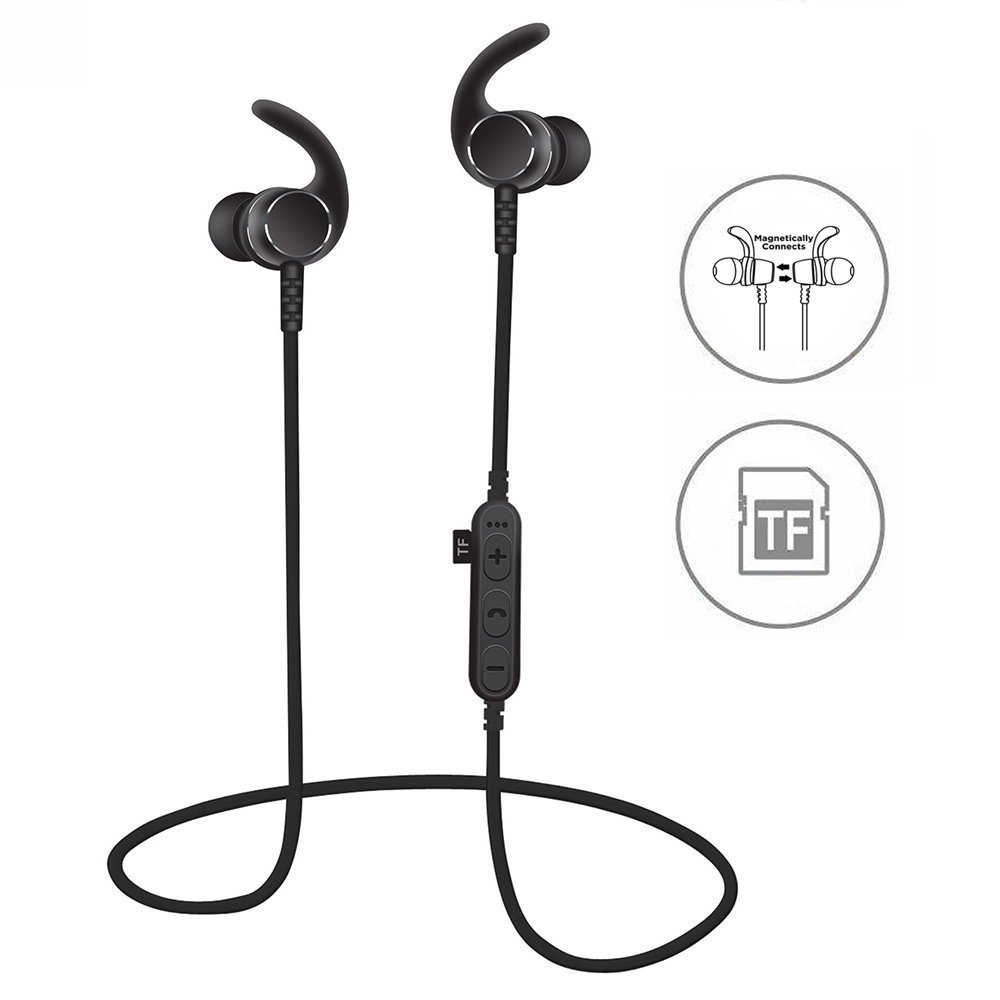 [Upgraded]SYL Bluetooth Headphones With TF SD Card Slot and Clip, Sweatproof MP3 Wireless in Ear Headsets, Bluetooth 4.2 Noise Cancelling Sports Magnetic Earphones with Mic for Gym Running (Black)
