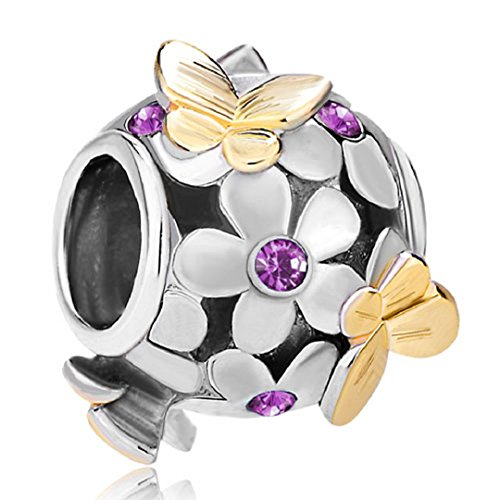Flying Butterfly Flower Golden 925 Sterling Silver Charm Crystal Bead Fits European Charms (Amethyst February Birthstone)
