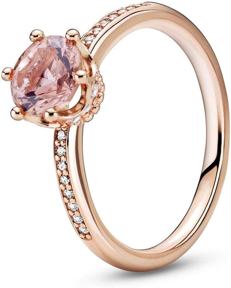 PANDORA Sparkling Crown Solitaire, Pink Crystal & Clear CZ PANDORA Rose Ring