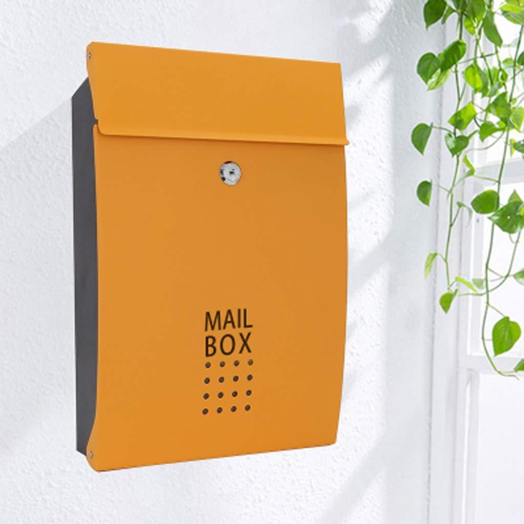 Yxsd 壁取り付け式レターボックス ロック可能 アウトドア 鉄製レターボックス 防水 ステンレススチール レターボックス オレンジ 196312  オレンジ B07KCP3LBG