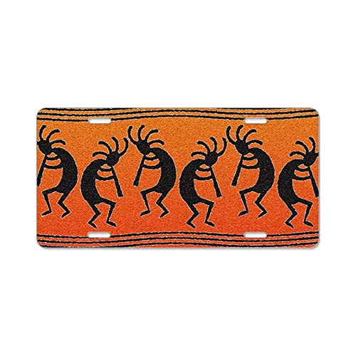 Mable Foster Abbey Road Cjx Southwest Kokopelli Pattern Front Metal Aluminum License Plate Vanity Car Tag Home Door Sign 6 X 12 with 4 Holes Ribbon