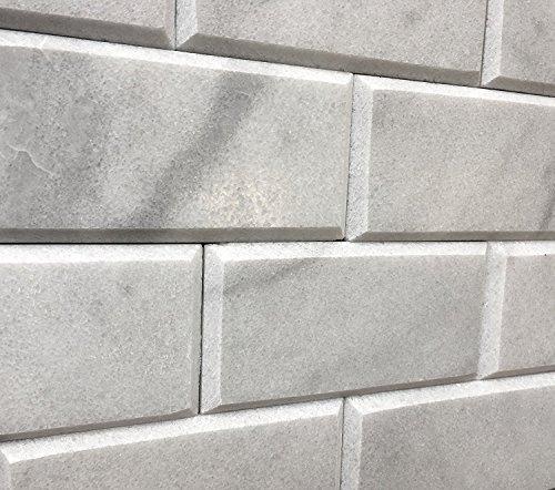 - 3x6 Beveled Honed Gray White Carrara Subway Marble Tile