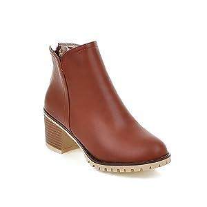 BalaMasa Womens Chunky Heels Zipper Kitten-Heels Brown Imitated Leather Boots - 4 B(M) US