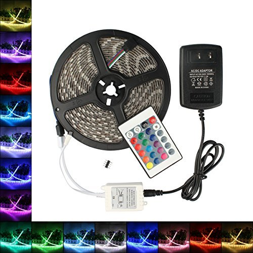B2ocled LED RGB Flexible Strip Lights Kit SMD 5050 16.4Ft(5M) 300leds Waterproof Color Changing with 24key IR Controller and 12V 2A Power Supply Adapter
