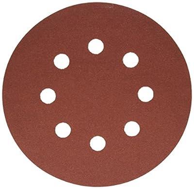 Bosch SR5R242 Random Orbit Sander Hook and Loop 8 Hole Disc 5-Inch 240 Grit Sand Paper, Red, 25-Pack