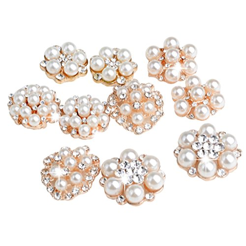 MonkeyJack 10 Pieces Assorted Alloy Flower Rhinestone Pearl Flatback Crafts Buttons Embellishments