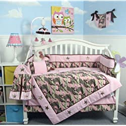 SOHO Girl Camo Baby Crib Nursery Bedding Set 13 pcs included Diaper Bag with Changing Pad & Bottle Case by SoHo Designs