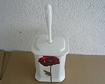 Toilettenbürstengarnitur Aus Keramik Eckig Dekor Weiß Mit Mohn