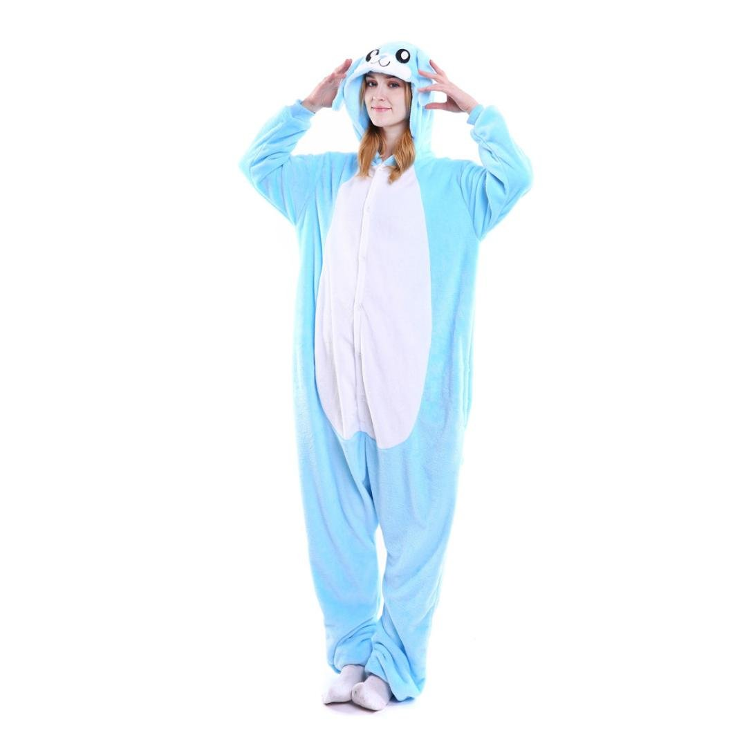 Flannel Unicorn Cartoon Animal Novelty Comfy Pajama Loose Cosplay Rompers (Blue, XL)