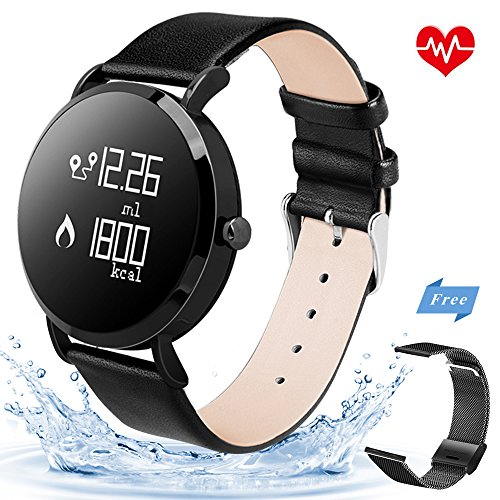 Select Watch Leather Ladies (KeeGan Fitness Tracker Activity Tracker with Heart Rate Monitor and Calorie Counter Pedometer Bracelet IP67 Waterproof GPS Tracker Smart Watch for Men Women (Black-Leather))