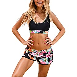 Wenly zeng Women's Sport Two Piece Swimsuits Racerback Crop Top Boyshort Bottom (XL, Black Printing)