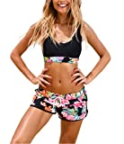 #8: Women's Sport Two Piece Swimsuits With Racerback Crop Top Boyshort Bottom
