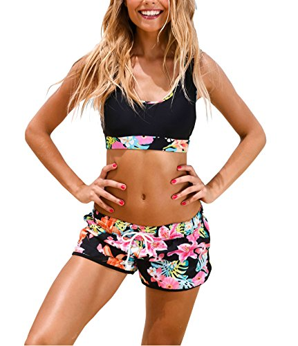 Women's Sport Two Piece Swimsuits with Racerback Crop Top Boyshort Bottom (S, Black Printing)