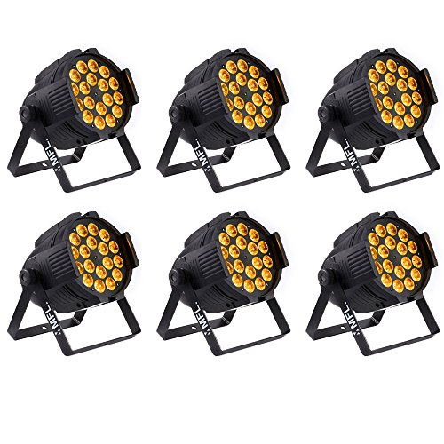 MFL 18x18w 6in1 RGBW+Amber+UV LED Par Lights DMX for Stage Lighting Party Night Club (pack of 6)