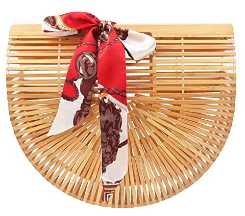 Women's Tote Bamboo Bag from Covelin, Handmade Top Handle Handbag for Summer Sea Large