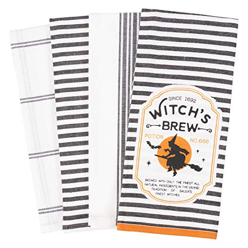 Halloween Dish Towels (KAF Home Pantry Appliqué Halloween Dish Towel Set of 4, 100-Percent Cotton, 18 x 28-inch (Witch's)