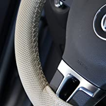 "Circle Cool Beige PVC Leather Steering Wheel Cover Wrap w/ Needle & Thread 14"" Diameter 4"" Grip Circumference 47006"