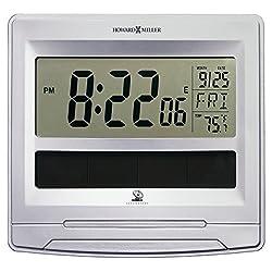 Howard Miller Versatile Solar Tech Desk/Wall Clock, 8 1/2 x 7 1/2, Satin Silver (625608)