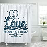 VaryHome Shower Curtain Church Biblical Christian Typographic Love Endures All Things Corinthians 13 7 God Waterproof Polyester Fabric 72 x 78 Inches Set with Hooks