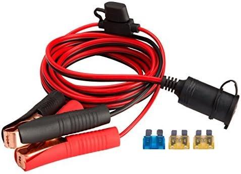 Magiin 12V/24V Clip-on Terminal de Bateria 12V 15A 3M Encendedor Cigarillos Cable Alimentación Adaptador con Fusibles Coche para Compresor de Aire Bomba Coche