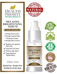 100% Natural & Organic Melasma Treatment for Face. Best Brightening Serum for Lightening & Dark Spot Corrector - Hydroquinone & Kojic Acid Free. Kit, Serum & Cream to Fade and Remove Pigment Problems.