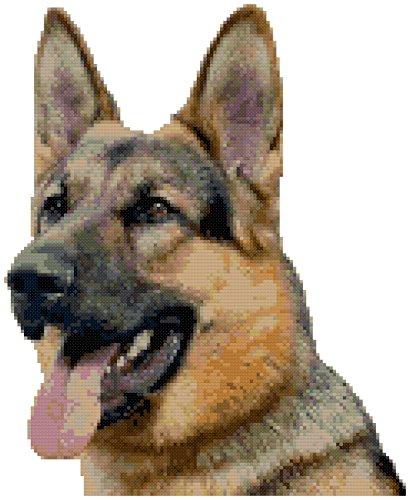 (German Shepherd Dog Portrait Counted Cross Stitch Pattern)
