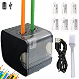 Electric Pencil Sharpener Normei Double Holes, Battery Powerd or USB Charging, Non-skid Rubber Feet, Heavy Duty, Drawing Coloring Pencils Sharpener for School, Home, Office, Studio (Black)
