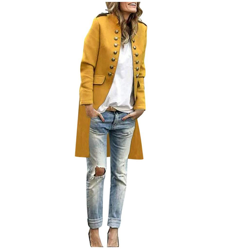 SHUSUEN Women Elegant Long Coat Button Down Cardigan Tops Formal Business Outwear Yellow by SHUSUEN