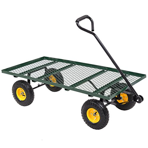 Green Steel Garden Nursery Cart Mesh Deck Wagon Capacity 800 Lbs w/ 10'' Rubber Tires by FDInspiration