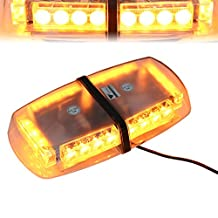 T Tocas(tm) 24 LED Strobe Beacon with Magnetic Base, Emergency Flashing Lamps Warning Mini Bar Hazard Lights for Car SUV Boat Roof, 12V- Amber
