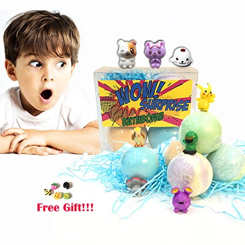 Bath Bucket Gift Set Frog (Bath Bombs for Kids with Toys Inside Surprise Gift,Boy&Girl Best Lush Fizzies, 3 Pcs. Set Random Toy in Fun& Fruit Scents)