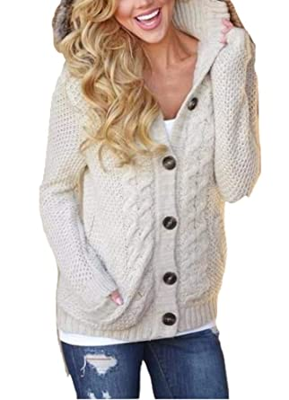 5cda69a451 Womens Hooded Chunky Knitted Cardigans Button Down Cable Knit Sweater  Outwear Beige