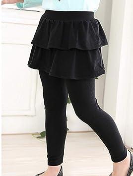 Runyue Niña Leggings con Falda Elástico Pantalones Cómodo Color ...