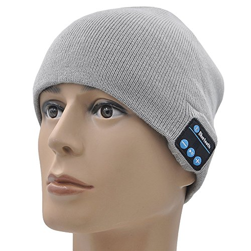 - KAMII Outdoor Bluetooth Beanie Hat Wireless Bluetooth Headphone Headset Earphone Stereo Speakers & Mic for Outdoor Sports, Running, Walking, Christmas Gifts (Gray)
