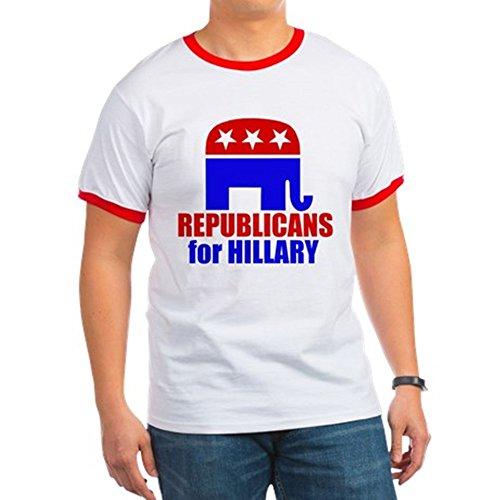 Republican Ringer T-shirt - CafePress - Republicans for Hillary - Ringer T-Shirt, 100% Cotton Ringed T-Shirt, Vintage Shirt Red/White