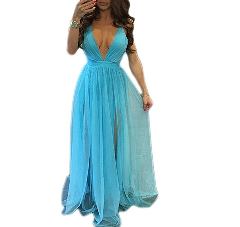 Lnxianee Womens Deep V Neck Tulle Prom Dresses Long Backless Formal Party Evening LX001