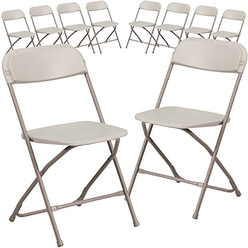 Flash Furniture 10 Pk. HERCULES Series 800 lb. Capacity Premium Beige Plastic Folding Chair (10 Folding Chairs)